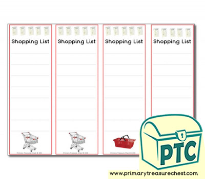 Role Play Newsagents Shopping Lists