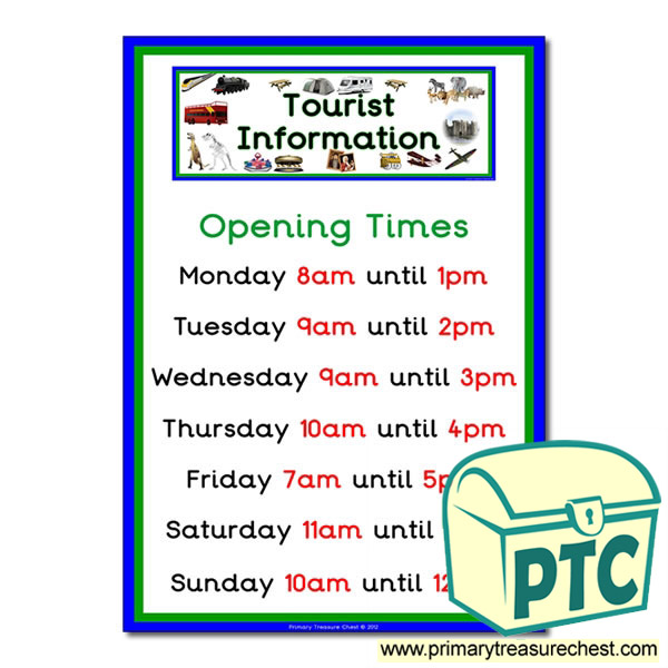 Role Play Tourist Information Opening Times (O'clock)