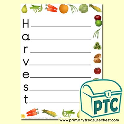 Harvest Acrostic Poem Sheet