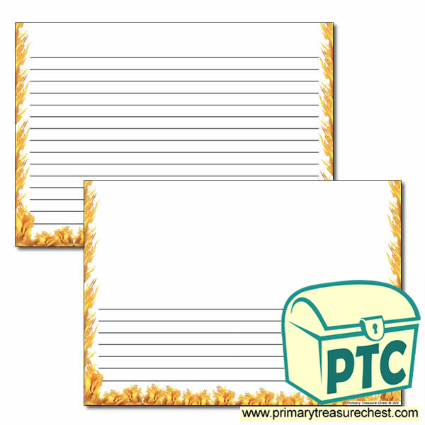 Fire Themed Landscape Page Border/Writing Frame (narrow lines)