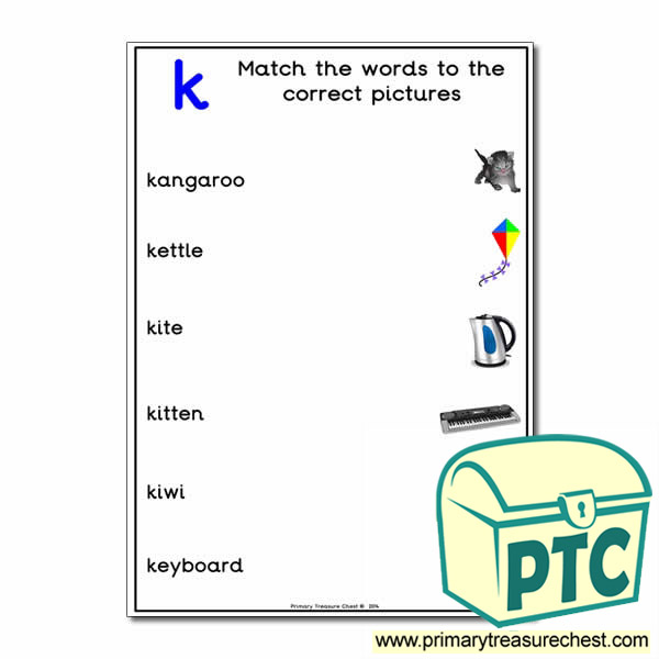 Match the 'k' Themed Words to the Pictures