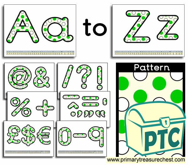 Green and white polka dot Display Lettering