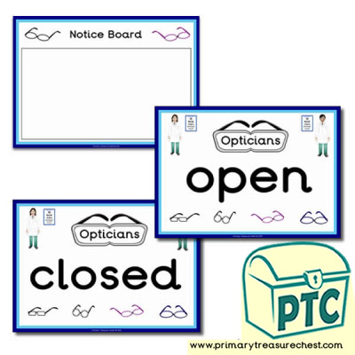 Role Play Opticians Signs