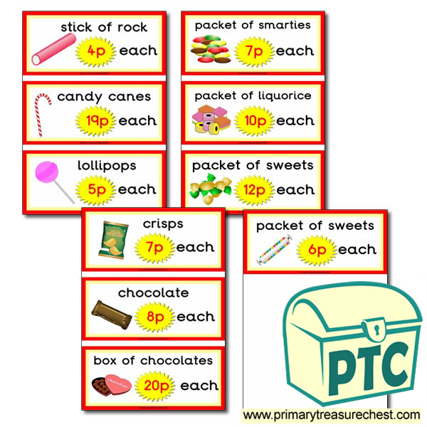 Sweet Shop Role Play Prices Flashcards (1-20p)