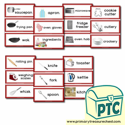 Home Corner Kitchen Themed Flashcards