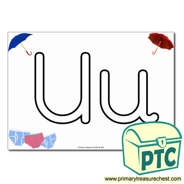 'Uu' Upper and Lowercase Bubble Letters A4 Poster, containing high quality, realistic images