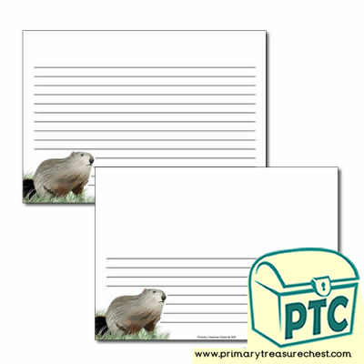 Groundhog Day Themed  Landscape Page Border/Writing Frame (narrow lines)