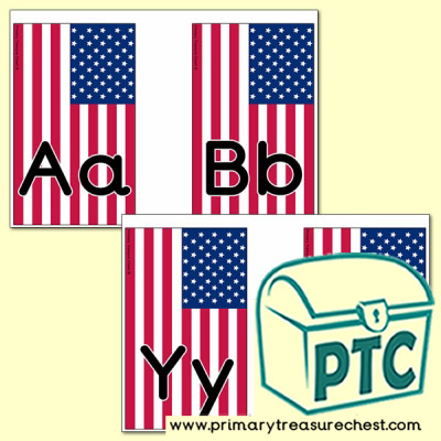American Flag Themed Alphabet Cards (upper and lower case)