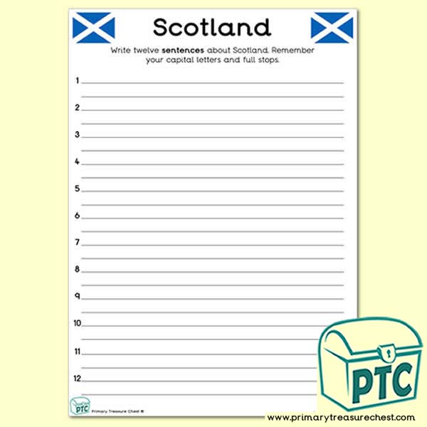 Scotland Themed Sentence Worksheet
