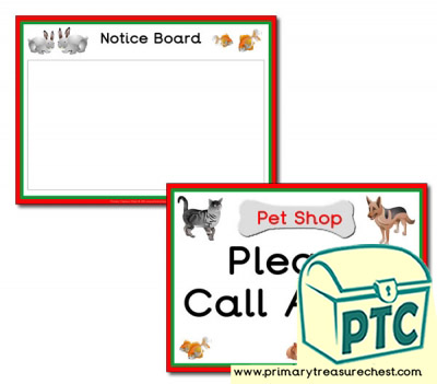 Pet Shop Role Play - Notice Board & Call Again Signs