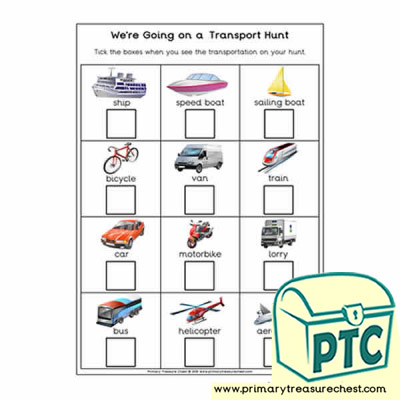 Were Going on a Transport Hunt worksheet