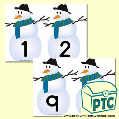 Snowman Themed Number Line 0-10