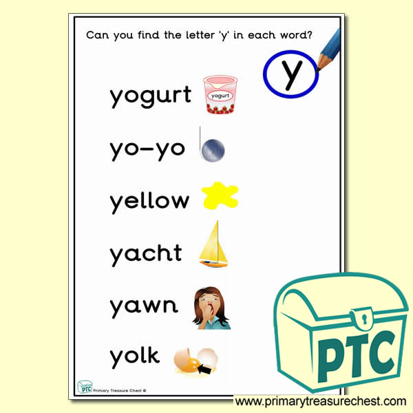 Find the Letter 'y' Activity Sheet