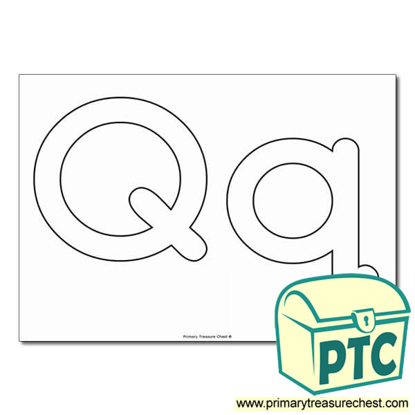 'Qq' Upper and Lowercase Bubble Letters A4 Poster - No Images.