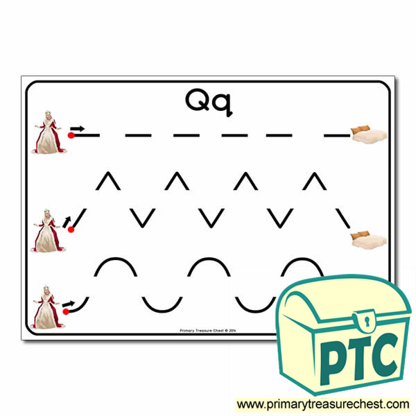 'Qq' Themed Pre-Writing Patterns Activity Sheet