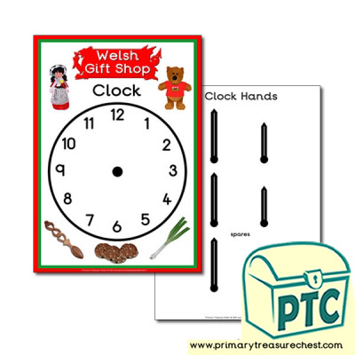 Role Play Welsh Gift Shop Clock
