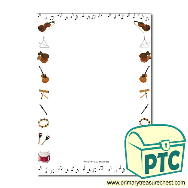 Music Themed Page Border Writing Frame No Lines