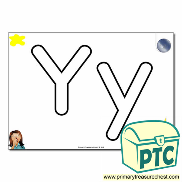 'Yy' Upper and Lowercase Bubble Letters A4 Poster, containing high quality, realistic images