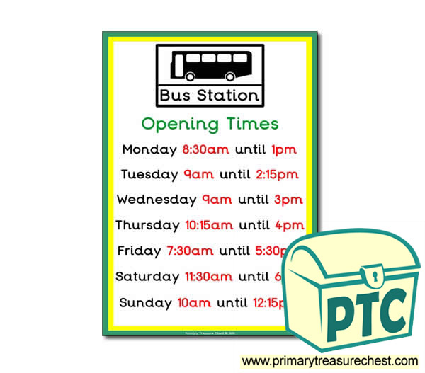 Bus Station Role Play Opening Times (Quarter & Half Past Times)