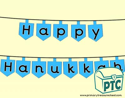 Hanukkah themed bunting, with a dreidel themed background.