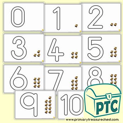 Treasure Chest Number Shapes 0 to 10 Playdough Mats
