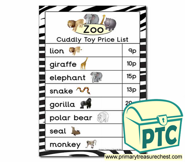 Zoo Gift Shop Toy Price List - 1-20p