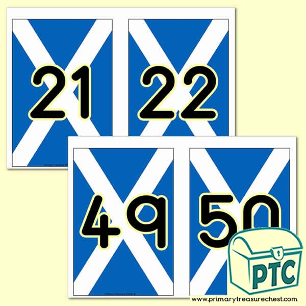 Scottish Flag Number Line - 21 to 50