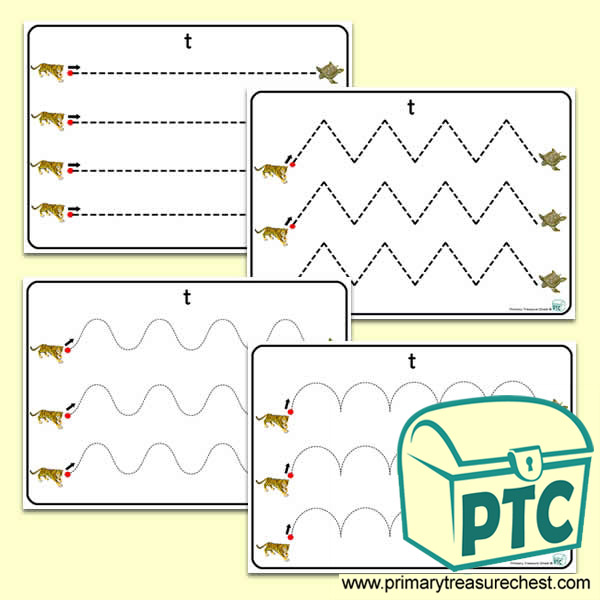 'Tt' Themed Pre-Writing Patterns Activity Sheets