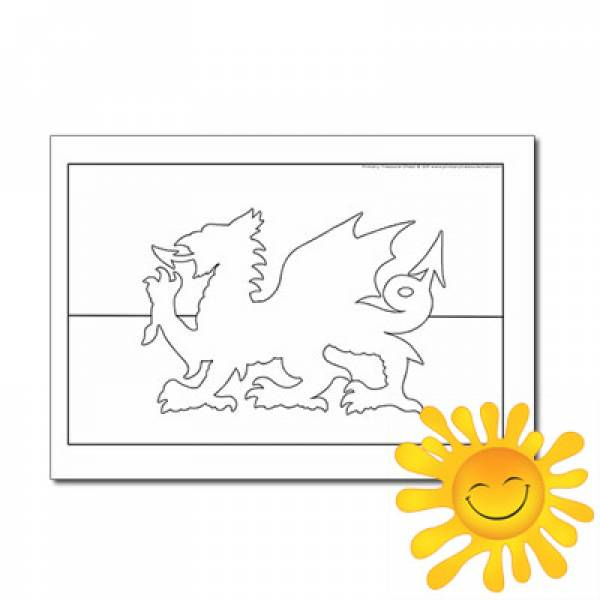 Welsh Flag Colouring Sheet Primary Treasure Chest
