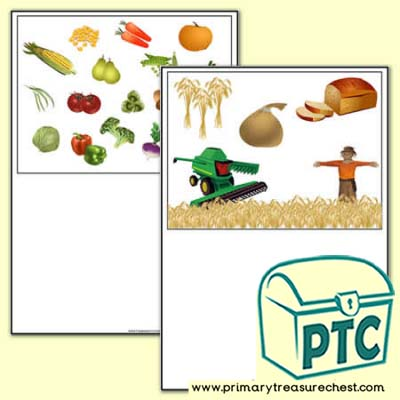 Harvest Themed Writing Activity Worksheet  (No Lines)