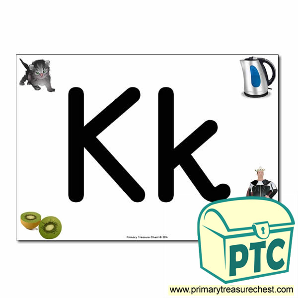 'Kk' Upper and Lowercase Letters A4 posterposter with realistic images