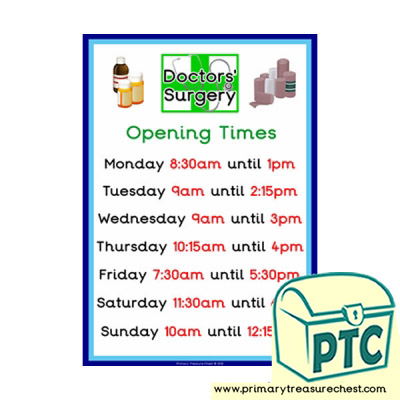 Doctors' Surgery  Role Play Opening Times Sign (Quarter & Half Past times)