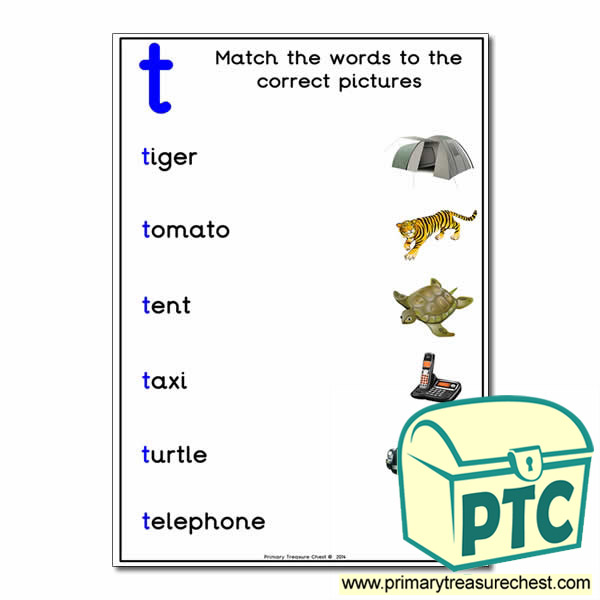 Match the 't' Themed Words to the Pictures