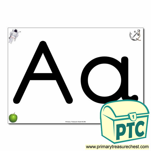 'Aa' Upper and Lowercase Letters A4 posterposter with realistic images