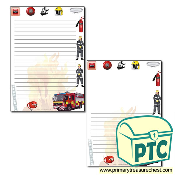 Fire Station Themed Page Border/Writing Frame (narrow lines)