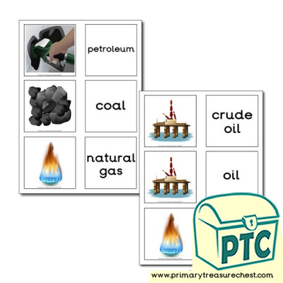 Fossil Fuels Themed Matching Cards
