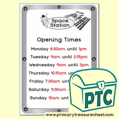 Space Station Role Play Opening Times (quarter & half past Times)