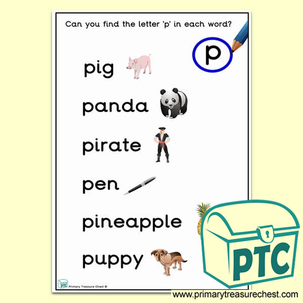Find the Letter 'p' Activity Sheet