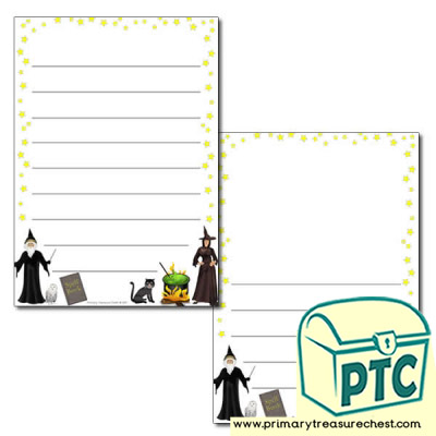 Magic Themed Page Border/Writing Frame (wide lines)
