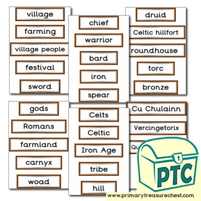 Celts Themed Display Words