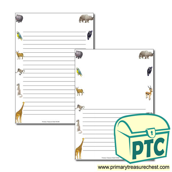 Animals Themed Page Border/Writing Frame (narrow lines)