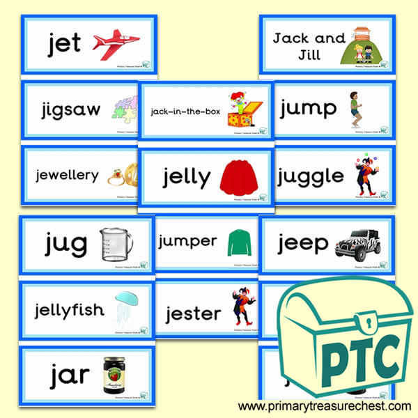 Letter 'j' Themed Flashcards