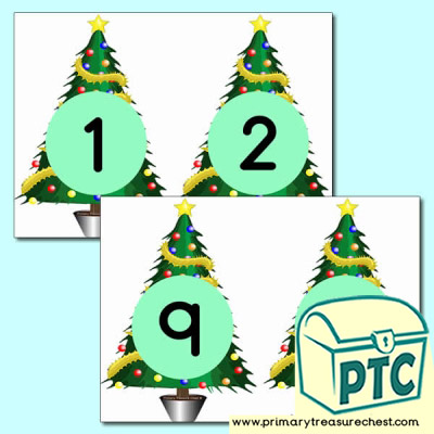 Christmas Tree Number Cards 0 to 10