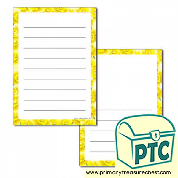 Daffodil Themed Page Border - Wide Lines