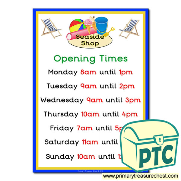 Seaside Shop Opening Times (O'clock)
