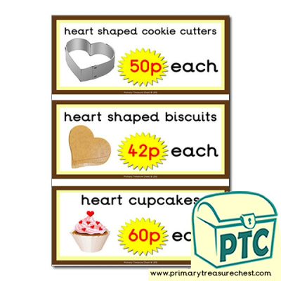 St. Valentine's Day Cake/Biscuit Prices Flashcards 21p to £99
