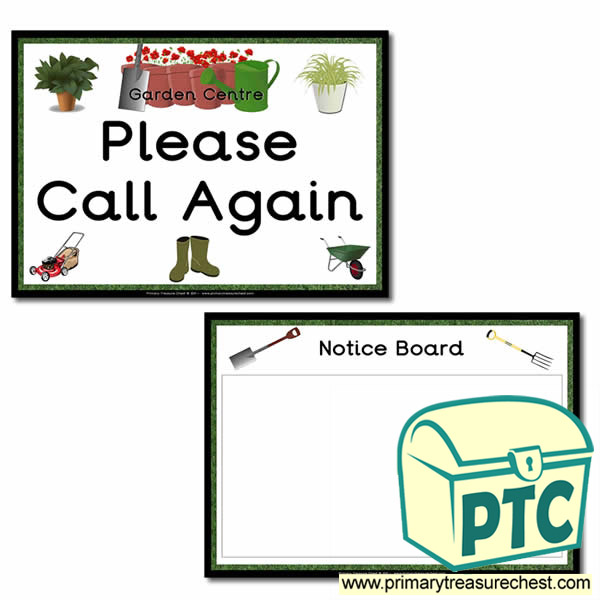 Role Play Garden Centre Notice Board / Call Again Signs