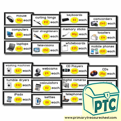 Role Play Electrical Shop Prices Flashcards (21p - £99)