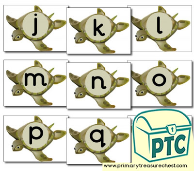 Turtle Themed Phonic Sound Cards (j-r)