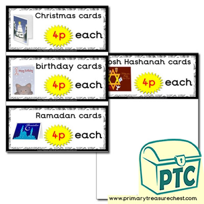 Role Play Newsagents Cards Prices Flashcards (1-20p)